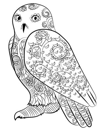 Hoog gedetailleerde illustratie van een sneeuwuil. Volwassen kleurplaat met polaire uil. Vector illustratie.