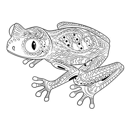 Página para colorear con rana en estilo zentangle. Ilustración de vector