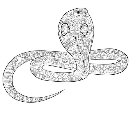 Malvorlage mit Schlange im Zentangle-Stil.
