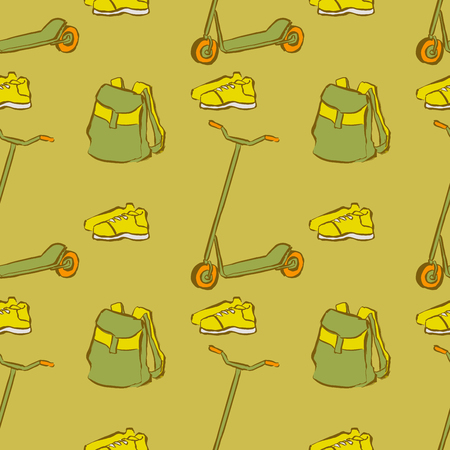 Seamless pattern with hand drawn hipster objects doodles. Endless texture with sketches with backpack, baseball cap, gyro, coffee cup, monopod and sneakers in sloppy style.