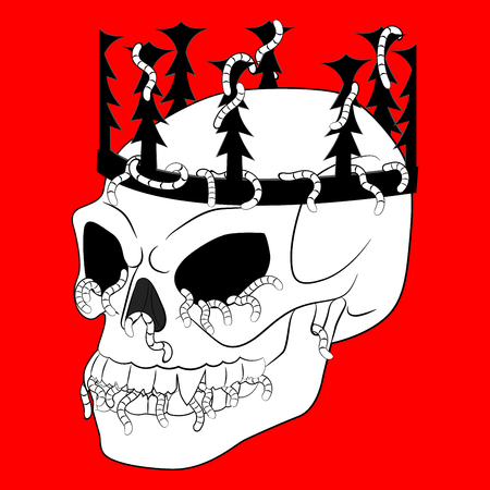 Black white doodle of the creepy skull with crown for art therapy. Scary, ghoulish, evil and spooky coloring page with Halloween symbol. Sketch for tattoo, poster, print, t-shirt. Vector