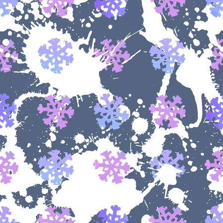 Seamless pattern with colorful snowflakes. Tile texture for Christmas wrapping or textile print.