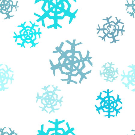 Bright seamless pattern with colorful winter snowflakes