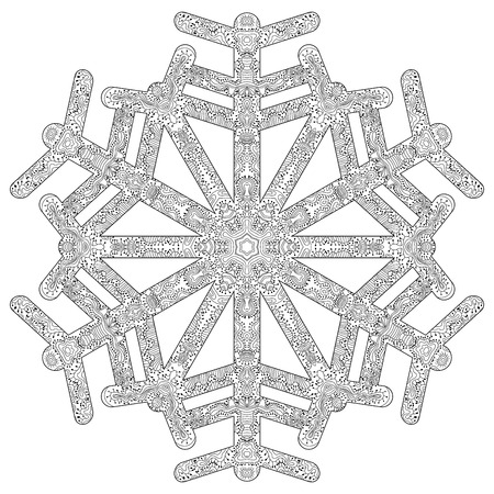 Hand drawn antistress snowflake. Template for cover, poster, t-shirt or tattoo. Winter coloring pages for adult art therapy. Vector illustration.
