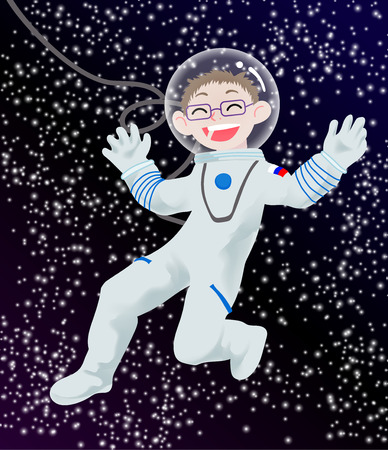 Children illustration with happy kid-astronaut in the open space. Vector