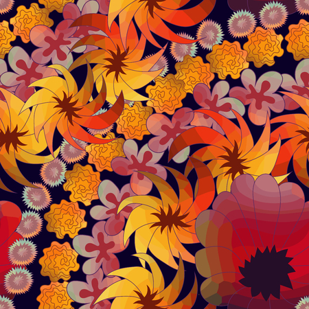 Seamless pattern with beautiful flowers. Romantic doodle tile texture with stylized doodle flowers. Template for wrapping or scrapbook paper, web background and textile print. Vector illustration