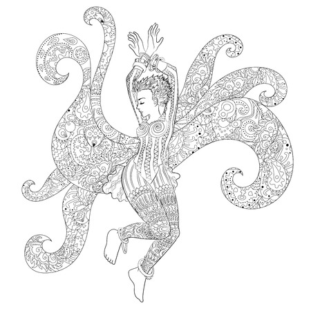 Beautifull dancing girl in a patterned dress. High detailed coloring page for grown ups. Vector illustration from coloring book for adults