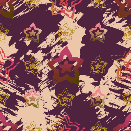 Seamless pattern with textured flowers. Endless texture for unusial wrapping or textile print with grunge design. Ilustrace