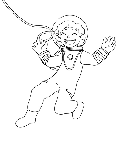 Children illustration with happy girl astronaut isolated on white background. Black and white vector illustration for coloring book Ilustrace