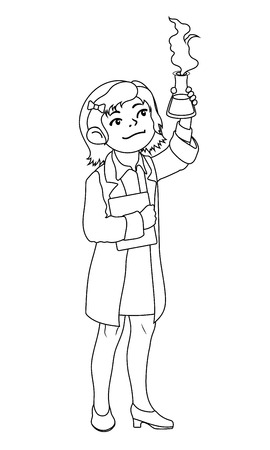 Children illustration with a girl chemist. Kids and proffessions series for coloring book. Vector illustration