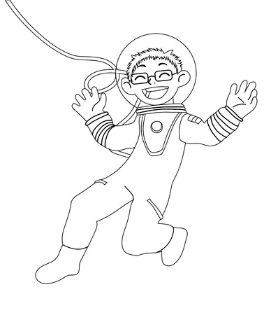 Children illustration with happy kid-astronaut in the open space. for coloring book. Black and white vector