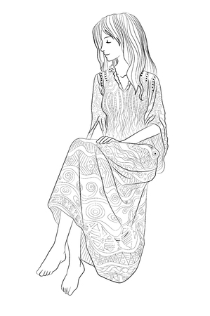 Beautifull girl in a patterned dress. High detailed coloring page for grown ups. Vector illustration