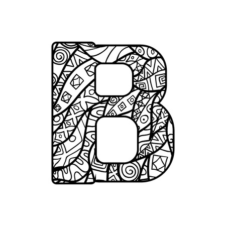 Vector character from latin alphabet with ornate ornament. Letter for colorig book. 일러스트