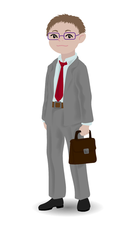 Children illustration with a business boy. Kids and proffessions series. Vector illustration Ilustrace