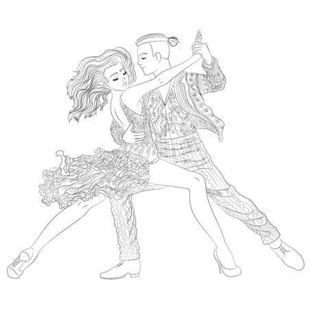 Beautifull dancing couple in a patterned outfit. 矢量图像