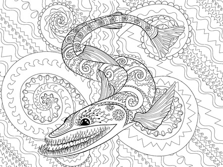 Creepy fish for anti stress coloring page, illustration of a bathysaurus in tangle style isolated on high detailed background. Black and white ugly fish for coloring book for grown-ups. Vector. Illustration
