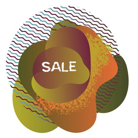 Abstract spot design for effective marketing. Bright decor element with sale banner. Vector illustration for discount.
