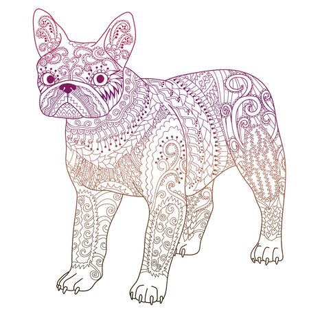 High detail patterned french bulldog in tracery style. Bright illustration with a dog for modern print design. Template with cute pet for t-shirt, tattoo, poster or logo. Vector