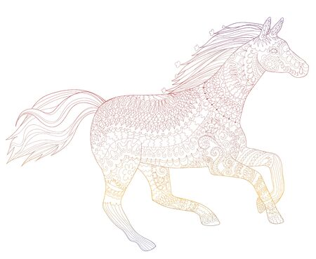 Bright illustration for modern print design. Running horse in zendoodle style. Template for t-shirt, tattoo, poster or cover. Vector drawing with rainbow colors.