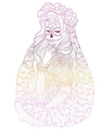 Beautifull girl with Santa Muerte make up wearing a patterned dress. High detailed bright illustration for modern print design. Vector illustration Ilustrace