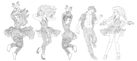 Beautifull dancing people in a patterned clothes. High detailed coloring page for grown ups. Vector illustration for coloring book for adults