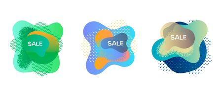 Set with abstract spots banners. Collection of abstract spots design for effective marketing. Bright decoration element for sale banner. Vector illustration for print, cover, poster or advertising.