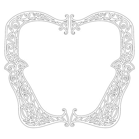 Illustration of a tangled frame for antistress coloring book for adults. Outline black and white drawing for fun colouring. Vector illustration Ilustração