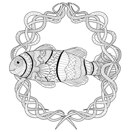 Clownfish with high details. Adult antistress coloring page. Black white hand drawn doodle oceanic animal. Sketch for tattoo, poster, print, t-shirt in tangle style. Vector illustration. Vectores