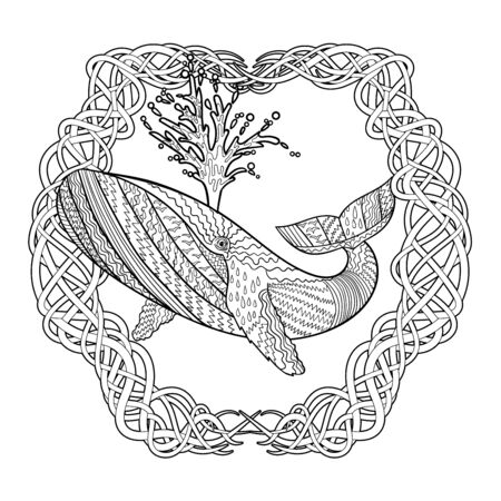 Hand drawn humpback whale in the waves for anti stress Coloring Page with high details, isolated on pattern background, illustration in zendoodle style. Vector monochrome sketch. Marine collection.