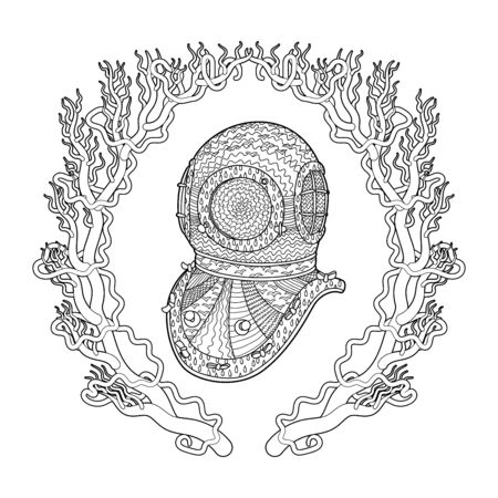 Antique divers helmet hand draw with high details. Coloring pages for adult. Abstract pattern with oceanic elements for relax coloring for grown ups in style. Vector
