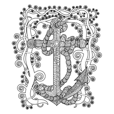 Hand drawn illustration of an anchor and rope in the tracery style. Sketch for tattoo, poster, print, t-shirt in zendoodle style. Adult antistress coloring page. Colouring book for grown ups.