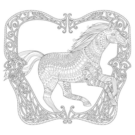 Adult coloring page for antistress art therapy. Running horse in zendoodle style. Template for t-shirt, tattoo, poster or cover. Colouring book for grown ups.