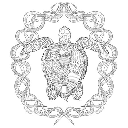 Hand drawn swimming turtle with high details for anti stress coloring page, illustration in tracery style. Sketch for tattoo, poster, print, t-shirt in zendoodle style. Colouring book for grown ups. Ilustração