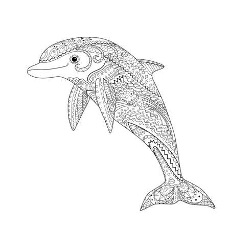 Delfín feliz con altos detalles. Página para colorear antiestrés para adultos. Dibujado a mano en blanco y negro doodle animal oceánico para terapia artística. Boceto para tatuaje, póster, impresión, camiseta Ilustración vectorial