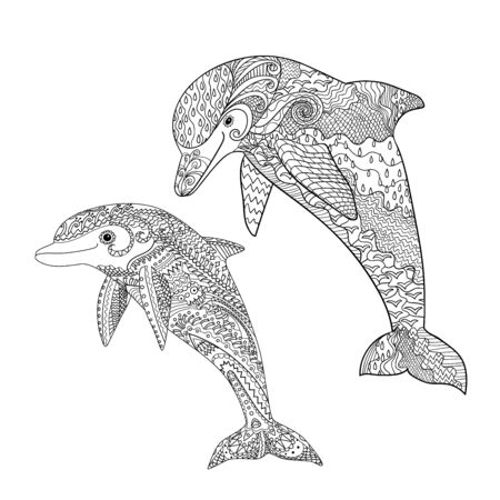 Happy dolphin with high details. Adult antistress coloring page. Black white hand drawn doodle oceanic animal for art therapy. Sketch for tattoo, poster, print, t-shirt Vector illustration Ilustração