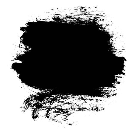 Black messy ink blot. Textured splatter isolated on white background.