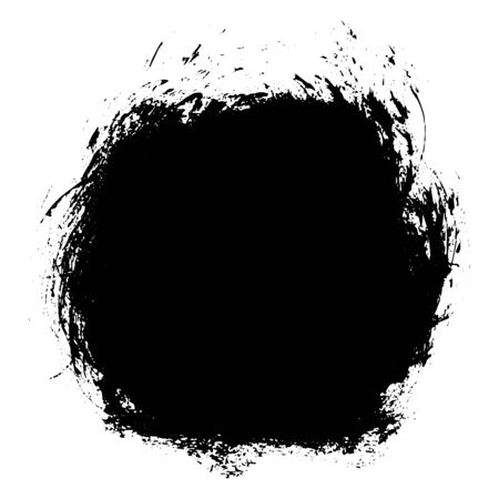 Black messy ink blot. Textured splatter isolated on white background.