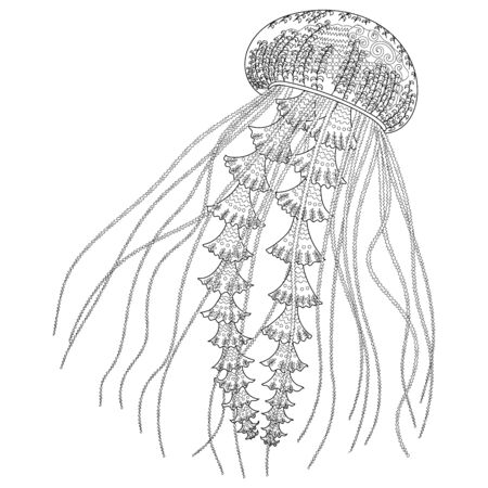 High detailed jellyfish for adult antistress coloring page. Black white hand drawn doodle oceanic animal for art therapy. Sketch for tattoo, poster, print, t-shirt Vector illustration
