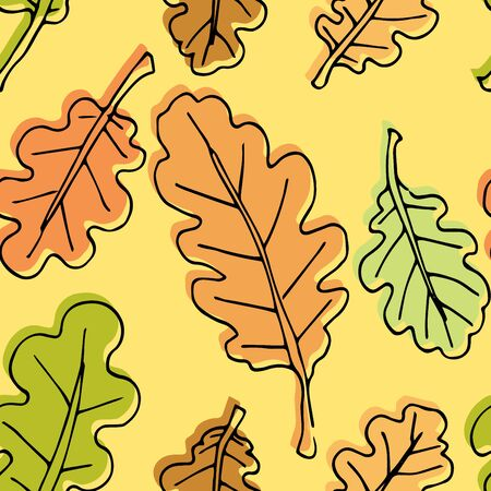 Autumn seamless pattern. Repetition texture of leaves of the oak tree. Vector illustration.