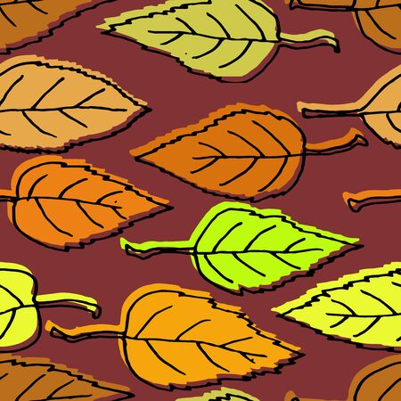 Autumn seamless pattern. Repetition texture of leaves of the apple tree. Vector illustration.