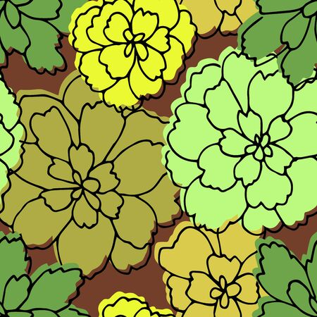 Autumn seamless pattern. Repetition texture of leaves of the pachysandra bush. Vector illustration.