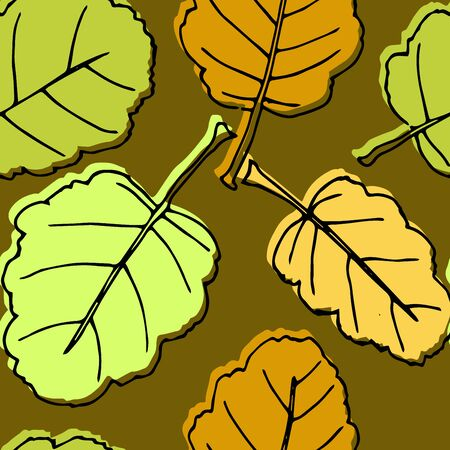 Autumn seamless pattern. Repetition texture of leaves of the alder tree. Vector illustration. Illustration