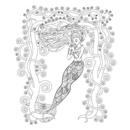 High detailed illustration of a mermaid for adult anti stress coloring book. Drawing with a beautiful underwater girl isolated on white background. Colouring page for grown ups. Vector  イラスト・ベクター素材