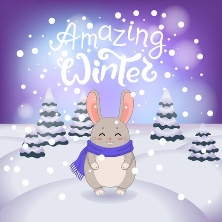 Winter vector illustration with cartoon animal character on the snowy landscape and snowfall background with a beautiful lettering inscription. Cute happy rabbit with winter calligraphy text. Illustration