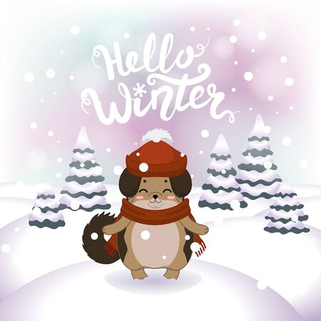 Winter vector illustration with cartoon animal character on the snowy landscape and snowfall background with a beautiful lettering inscription. Cute happy dog with winter calligraphy text. Illustration