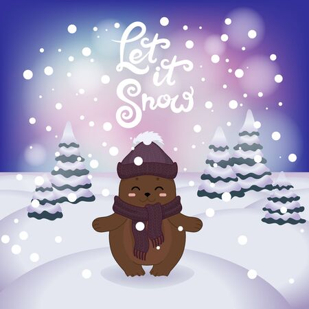 Winter vector illustration with cartoon animal character on the snowy landscape and snowfall background with a beautiful lettering inscription. Cute happy bear with winter calligraphy text.