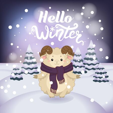 Winter vector illustration with cartoon animal character on the snowy landscape and snowfall background with a beautiful lettering inscription. Cute happy ram with winter calligraphy text.