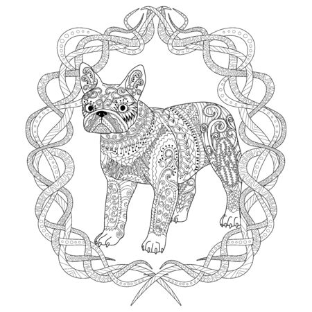 High detail patterned french bulldog in tracery style. Adult coloring page with a dog for antistress art therapy. Vector illustration.