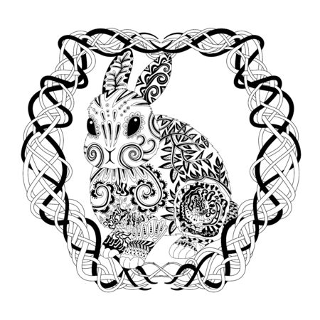 High detail patterned rabbit in tracery style. Adult coloring page for antistress art therapy. Vector illustration.