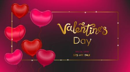 Vector Valentine card with realistic 3D baloon hearts and handwritten calligraphy title - Valenines day. Concept for horizontal poster, banner or invitation for All Lovers Day with lettering. Zdjęcie Seryjne - 138044003